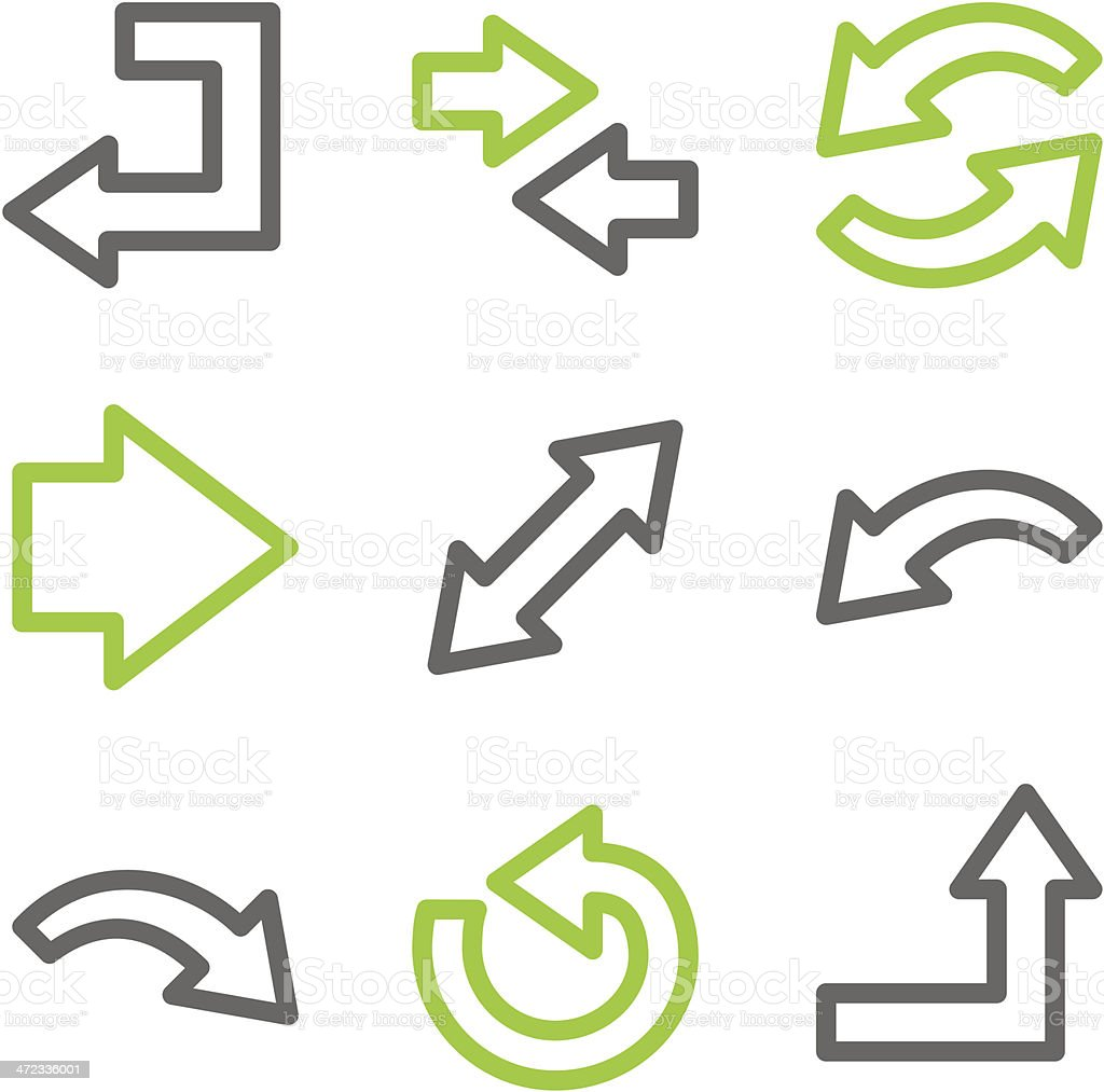 Arrows web icons, green and gray contour series royalty-free stock vector art
