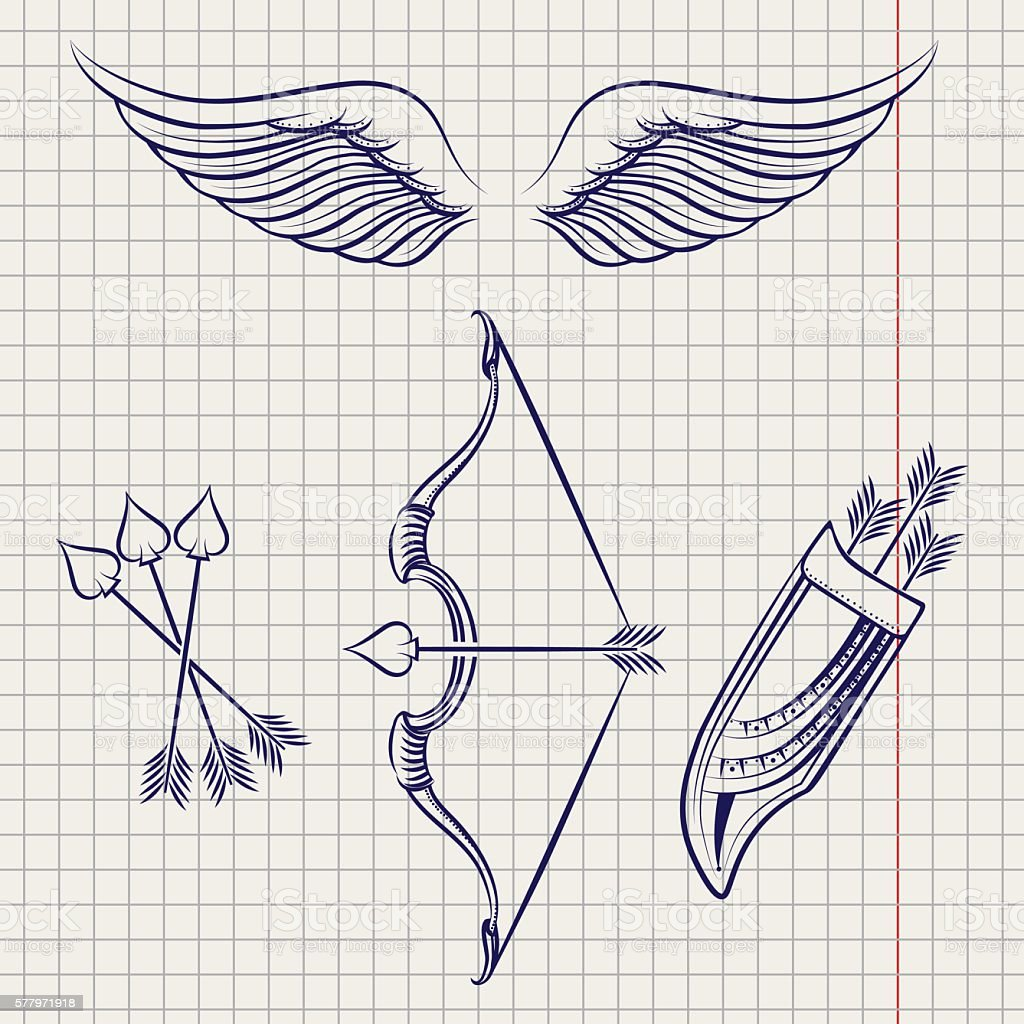 Arrows wings and bow sketch style set – Vektorgrafik