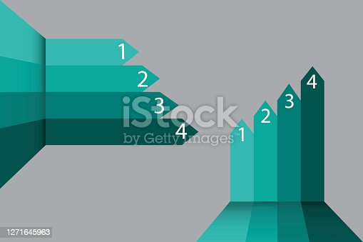 Arrows with numbers. Business template. Advertising creative layout. Arrow diagram. Presentation material. Vector illustration. Stock image.