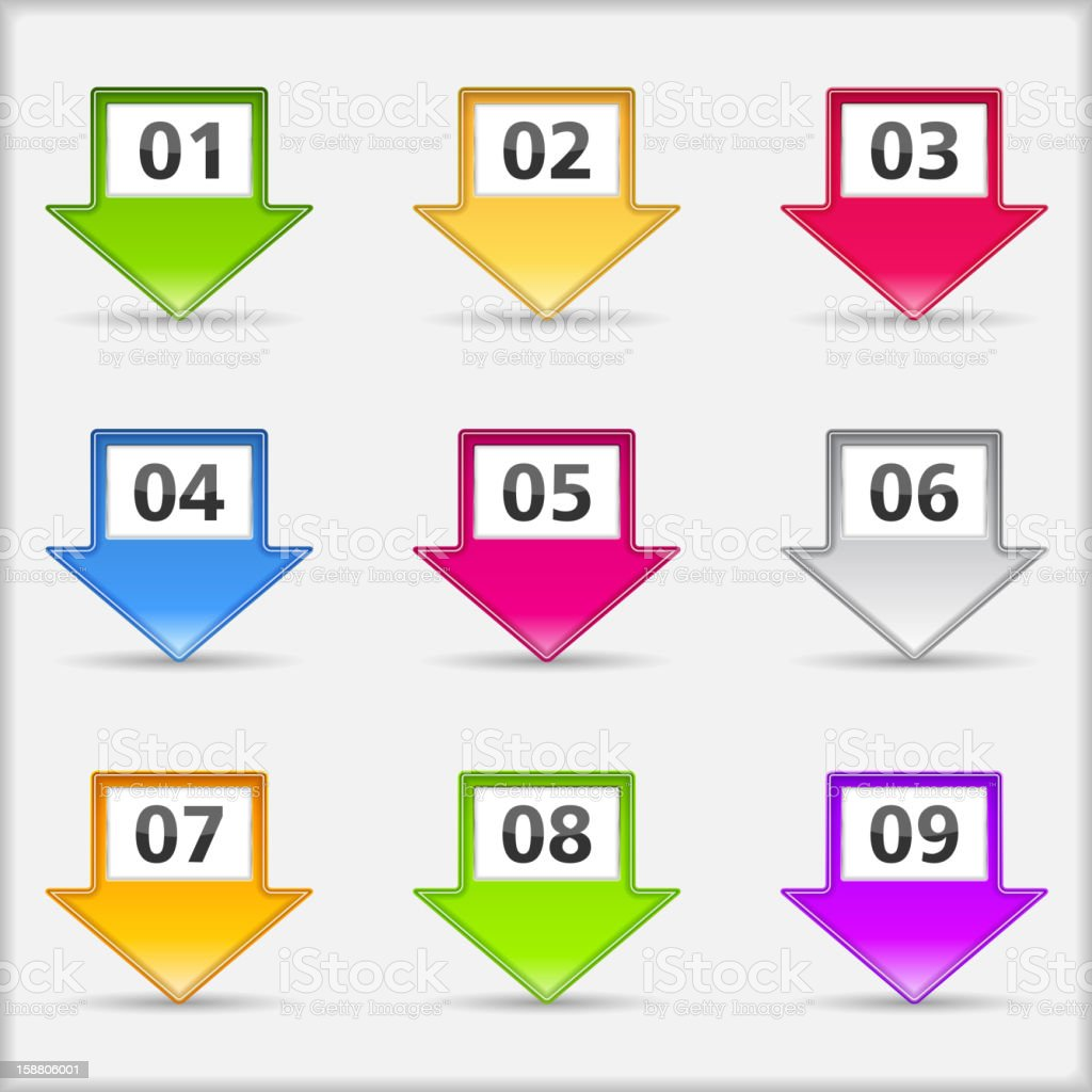 Arrows with numbers vector art illustration