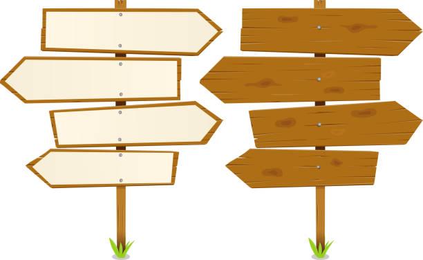 stockillustraties, clipart, cartoons en iconen met arrows wooden sign - wegwijzer bord