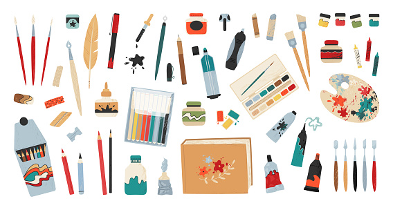 Art accessories. Artist painting tools and drawing supplies. Professional brush and paint. Pencils clipart bundle. Pen and ink. Isolated stationery set. Vector craft or hobby equipment