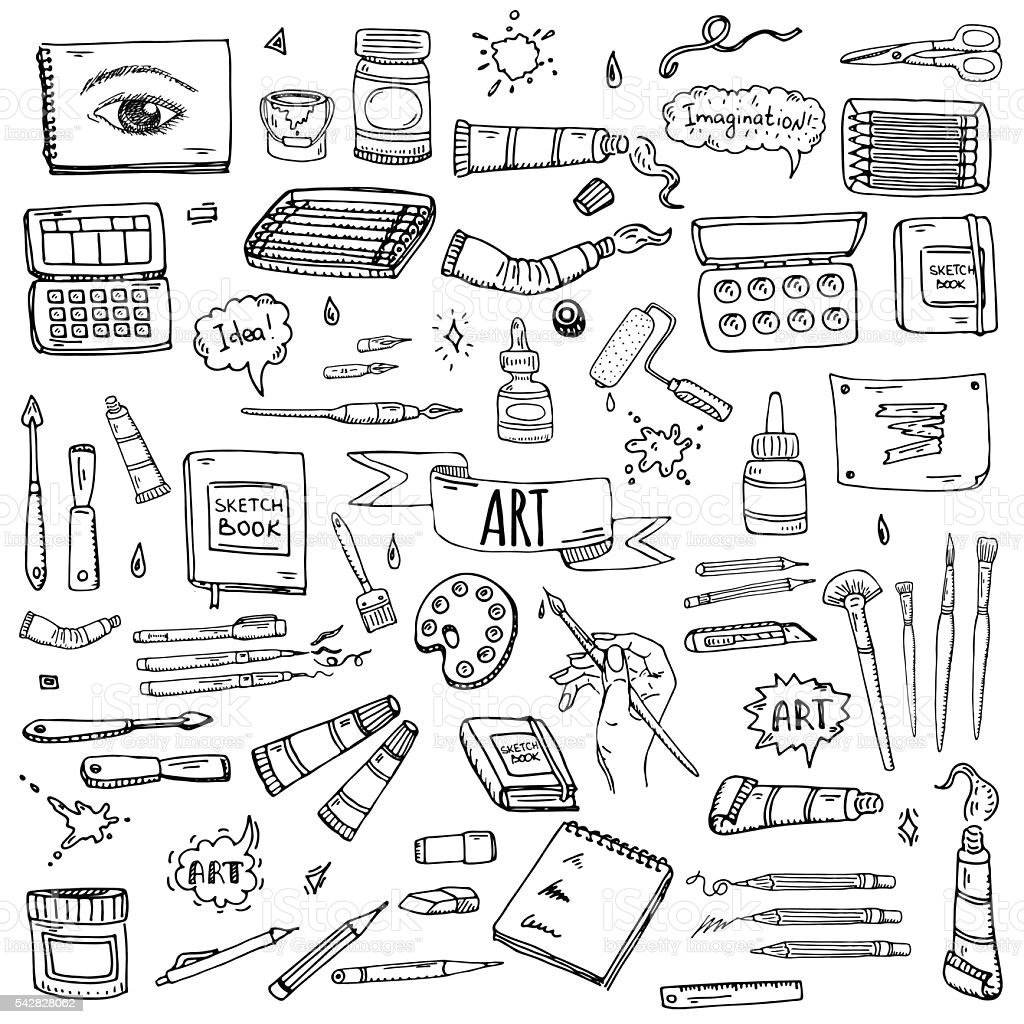 Art and Craft tools vector art illustration