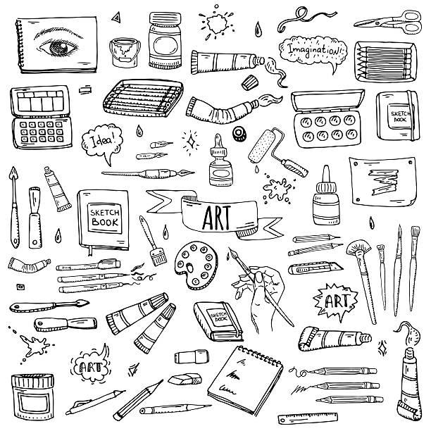 Art and Craft tools vector art illustration