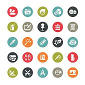 Art and Craft related vector icons