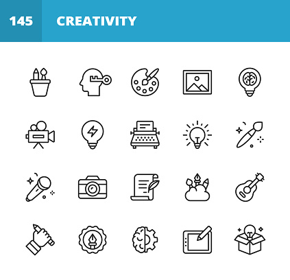 20 Art and Creativity Outline Icons. Art, Creativity, Drawing, Painting, Photography, Writing, Imagination, Innovation, Brainstorming, Design, Marketing, Music, Media, Paintbrush, Paint, Vector Graphics, Lightbulb, Image, Drawing Tablet, Artificial Intelligence, Guitar, Music, Playing Guitar, Singing.