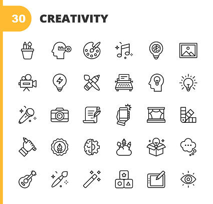 Art and Creativity Line Icons. Editable Stroke. Pixel Perfect. For Mobile and Web. Contains such icons as Art, Creativity, Drawing, Painting, Photography, Writing, Imagination, Innovation, Brainstorming, Design, Marketing, Music, Media.
