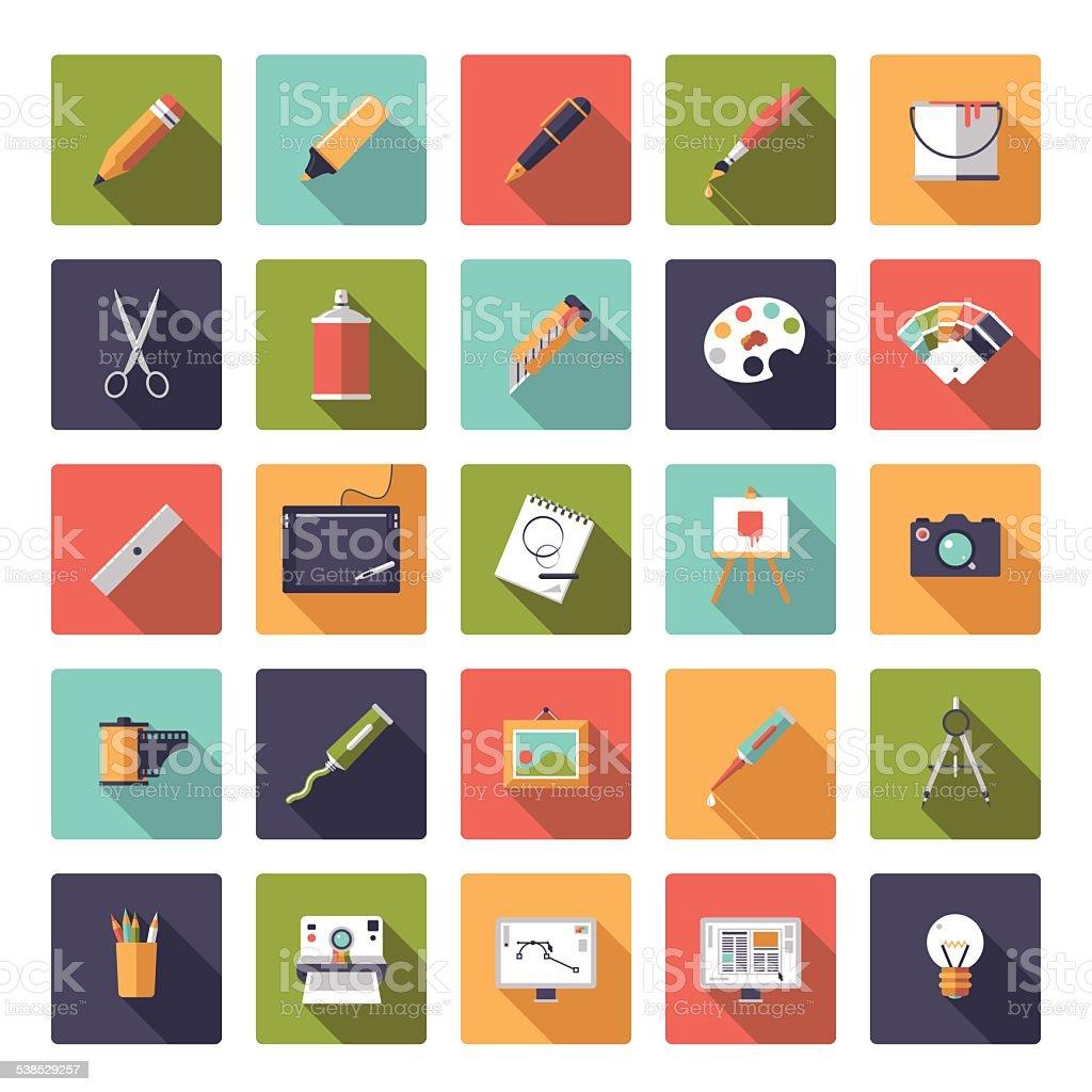 Art and design flat icon vector collection vector art illustration