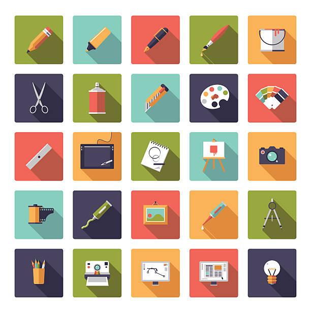 kunst und design flache symbol vektor sammlung - palettenbilderrahmen stock-grafiken, -clipart, -cartoons und -symbole