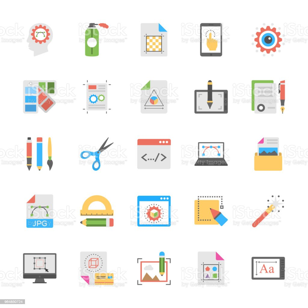 Art and Design Flat Icons Set royalty-free art and design flat icons set stock vector art & more images of color swatch