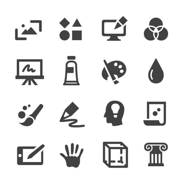 illustrations, cliparts, dessins animés et icônes de art et éducation icons - acme série - art