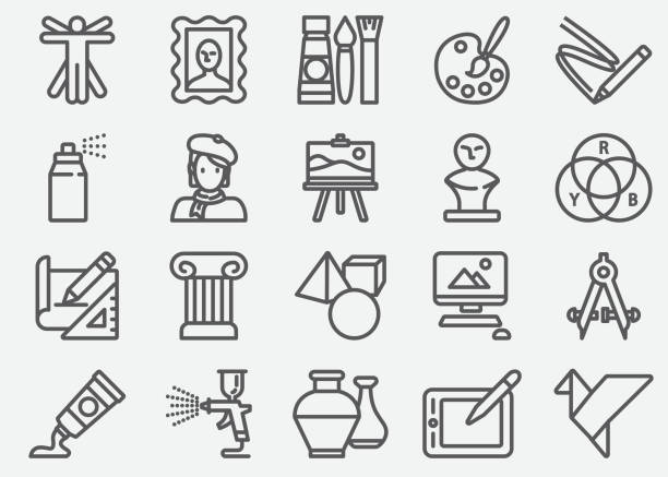illustrations, cliparts, dessins animés et icônes de art et éducation ligne icônes - art
