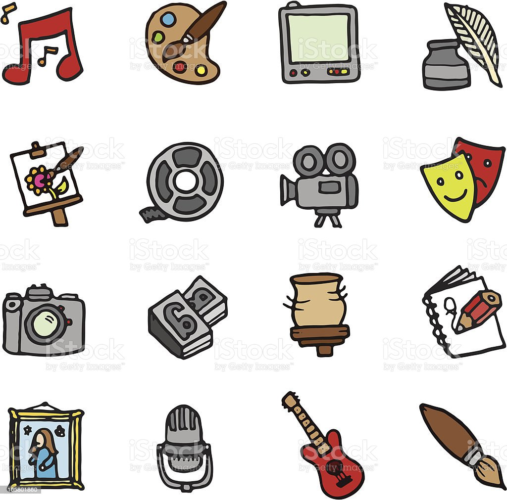 Art and Media doodle icons royalty-free stock vector art