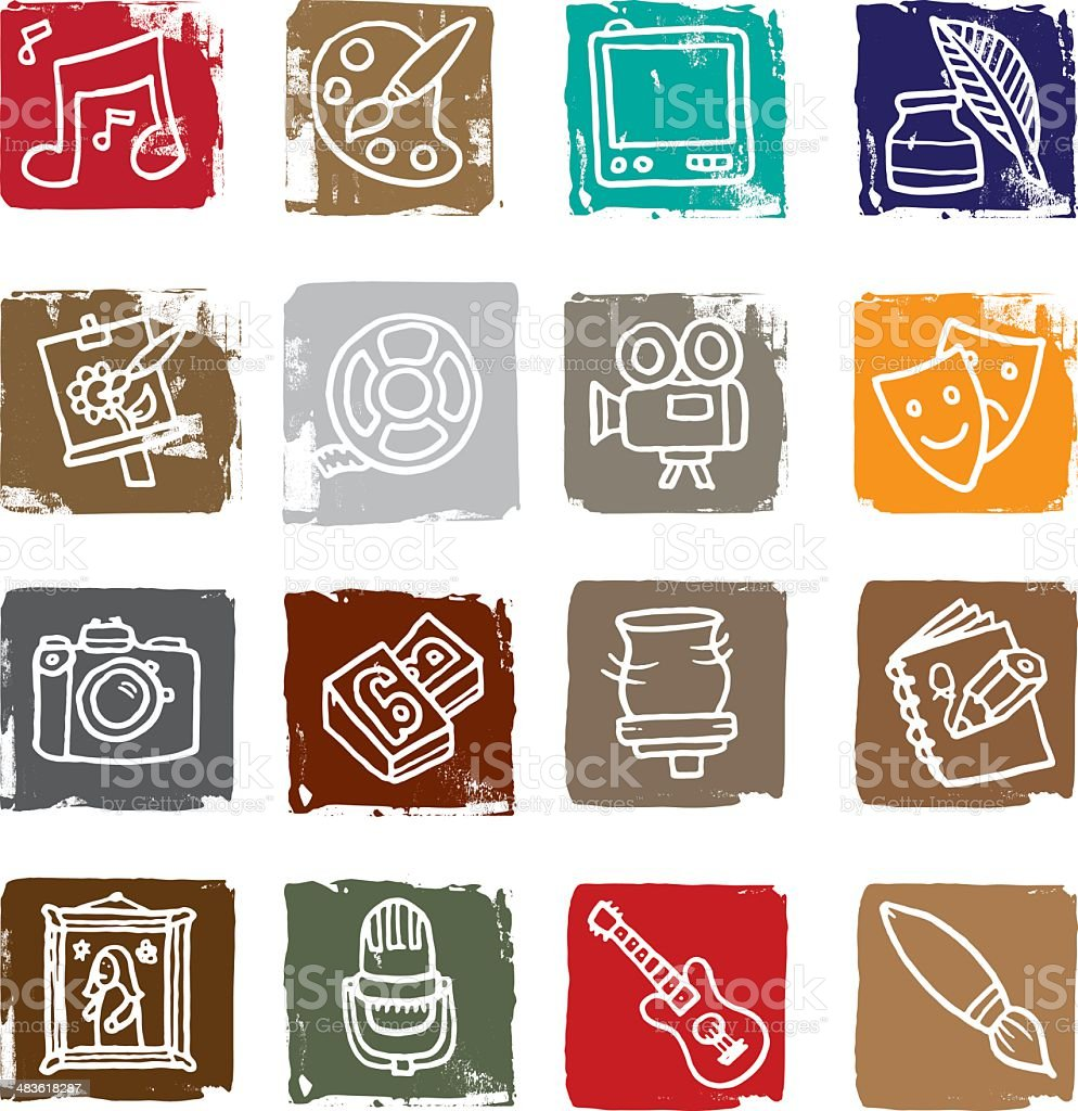 Art and Media icon blocks royalty-free art and media icon blocks stock vector art & more images of art