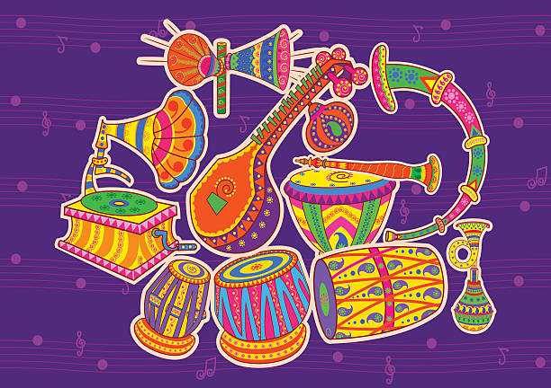 Art and music of India Vector design of art and music of India in Indian art style tavla stock illustrations