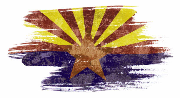 Art brush watercolor painting of Arizona flag blown in the wind isolated on white background eps 10 bector illustration. vector art illustration