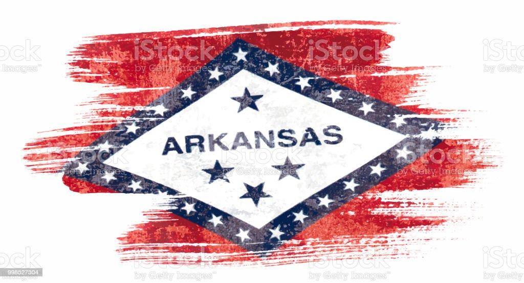 Art brush watercolor painting of Arkansas flag blown in the wind isolated on white background eps 10 bector illustration. vector art illustration