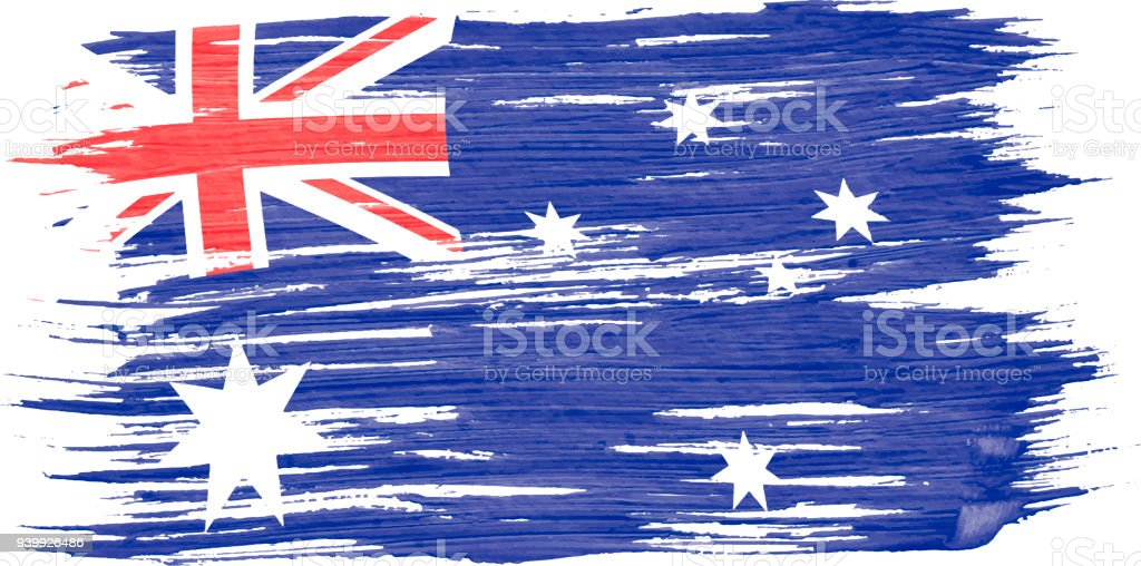 Art brush watercolor painting of Australian flag blown in the wind isolated on white background. Art brush watercolor painting of Australian flag blown in the wind isolated on white background. Acrylic Painting stock vector