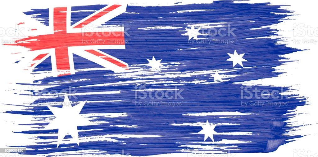 白い背景で隔離の風に吹かれオーストラリアの旗の水彩絵画のアート ブラシ。 ベクターアートイラスト