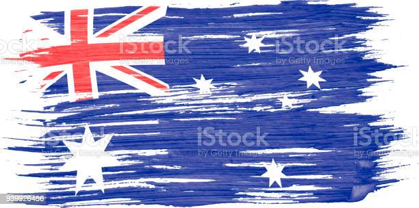 Art Brush Watercolor Painting Of Australian Flag Blown In The Wind Isolated On White Background Stock Illustration - Download Image Now
