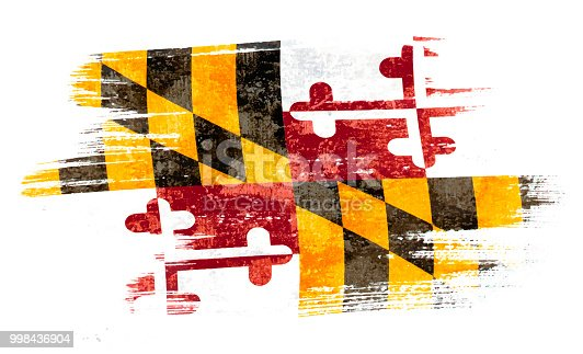Art brush watercolor painting of Maryland flag blown in the wind isolated on white background eps 10 vector illustration.