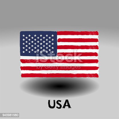 istock Art brush watercolor painting of  United States of America flag 945981580