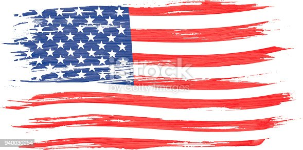 istock Art brush watercolor painting of USA flag blown in the wind isolated on white background. 940030254