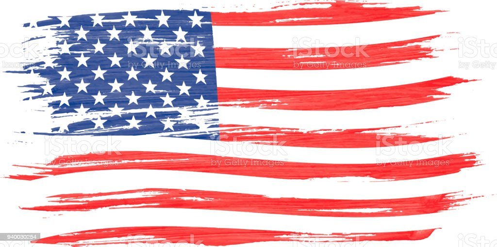 Art brush watercolor painting of USA flag blown in the wind isolated on white background. vector art illustration