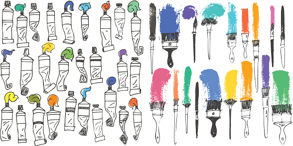 art brushes and oil colors tubes collection set artistic tools.