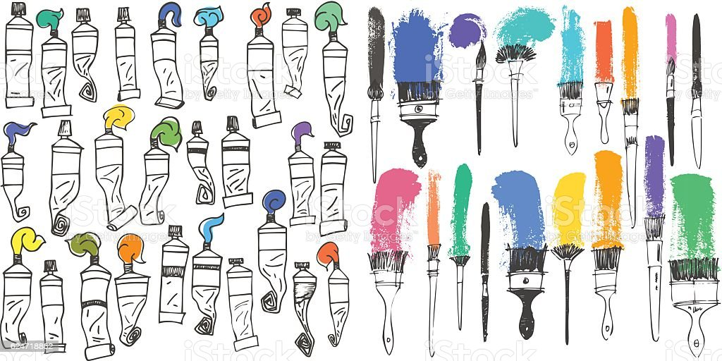 art brushes and oil colors tubes collection set artistic tools. vector art illustration