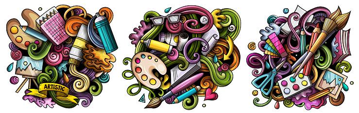 Art cartoon vector doodle designs set.