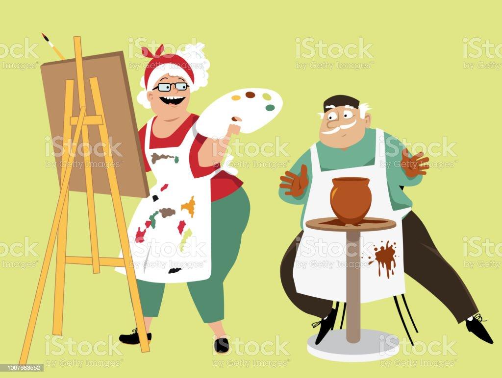Art class for seniors vector art illustration