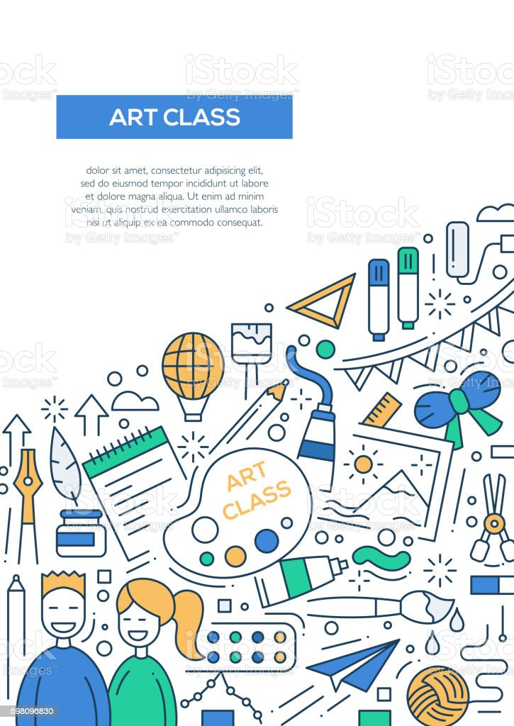 Art Class Line Design Brochure Poster Template A4 のイラスト素材
