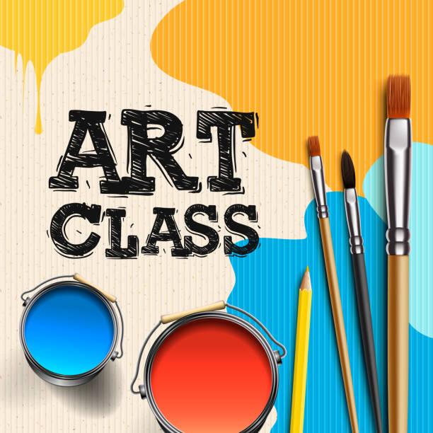 Clase de arte, diseño de plantilla de taller. Arte de los niños, educación, concepto de clase de creatividad, ilustración vectorial. - ilustración de arte vectorial