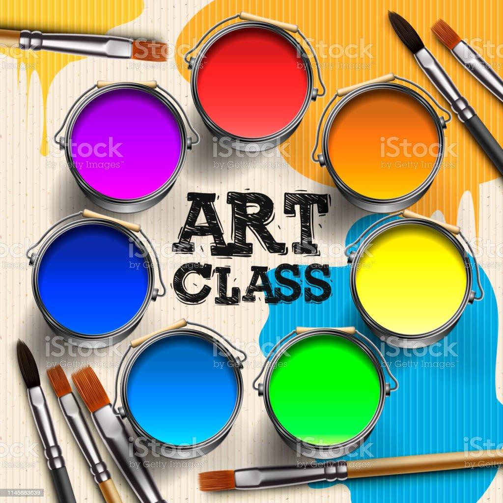 Art Class, Workshop Template Design. Kids art craft, education,...
