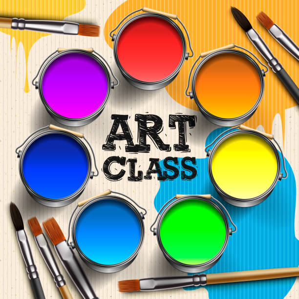 ilustraciones, imágenes clip art, dibujos animados e iconos de stock de clase de arte, diseño de plantilla de taller. arte de los niños, educación, concepto de clase de creatividad, ilustración vectorial. - clase de arte