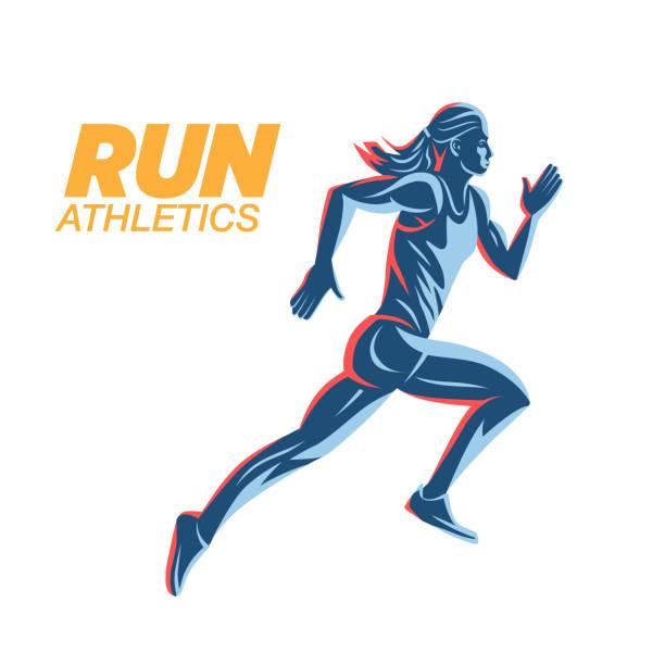 bildbanksillustrationer, clip art samt tecknat material och ikoner med konstbegreppet en rinnande kvinna. - jogging hill