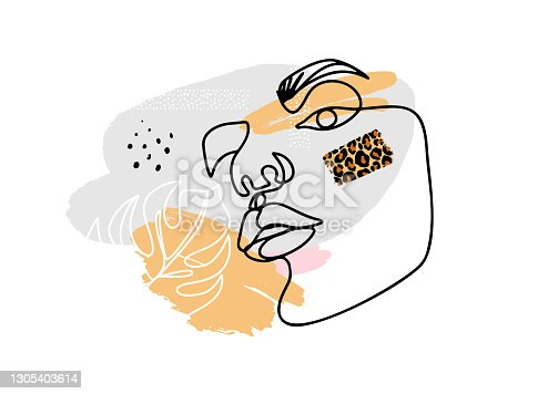 istock Art contemporary poster with abstract female face, one line drawing. Vector Surreal woman.Fashion poster. Modern graphic design. 1305403614