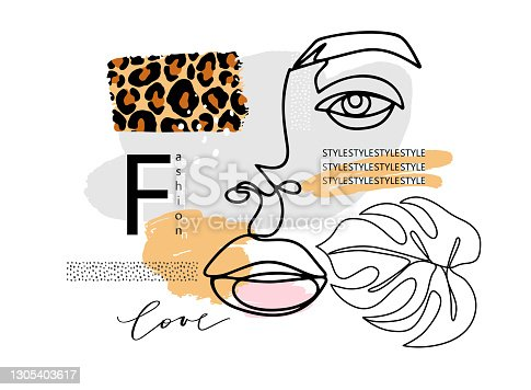 istock Art contemporary poster with abstract female face, one line drawing monstera leaf, love lettering, paint texture and leopard print. Fashion poster. Modern vector graphic design. 1305403617