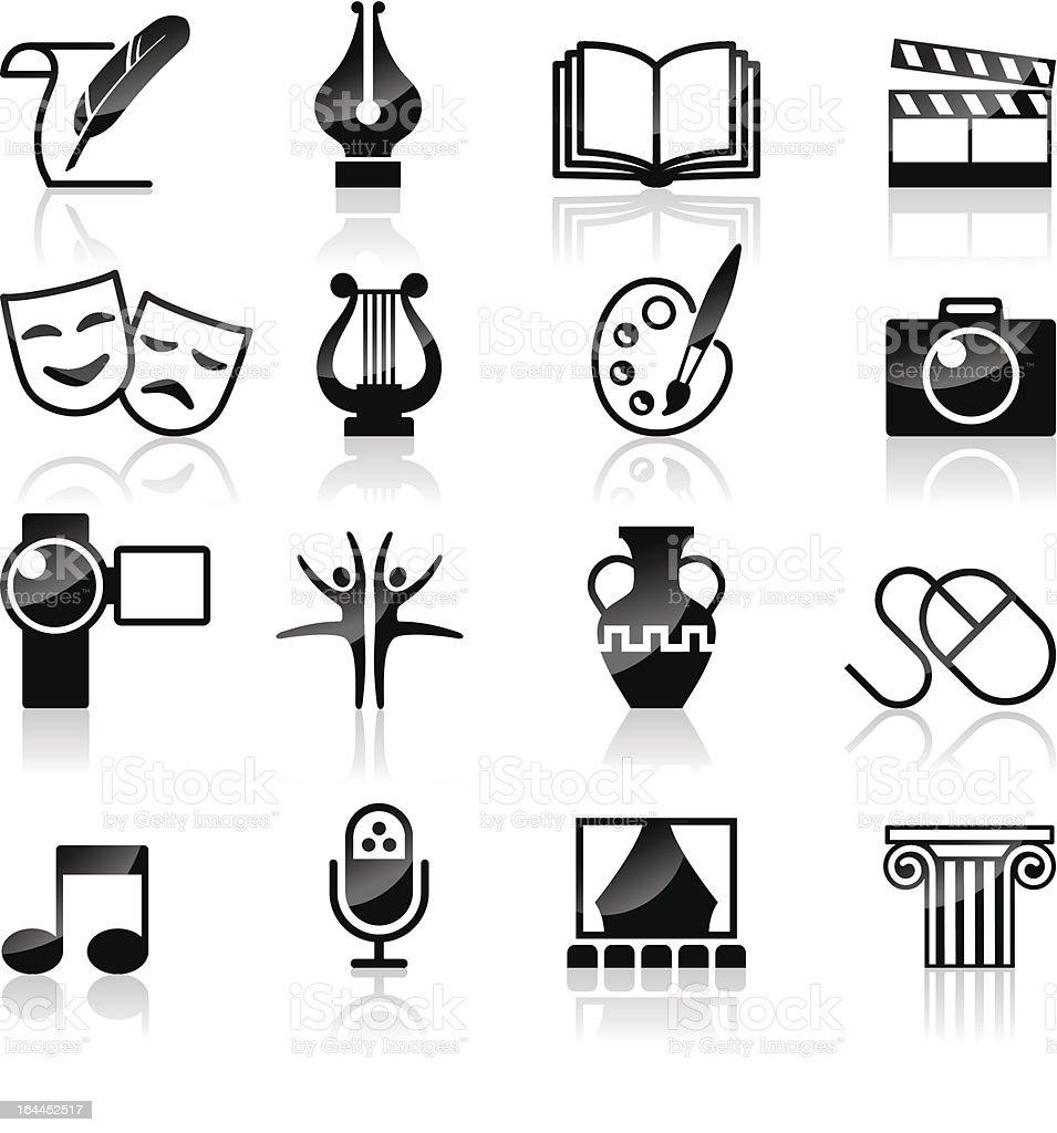 Art et de la Culture de la créativité & noir blanc ensemble. - Illustration vectorielle