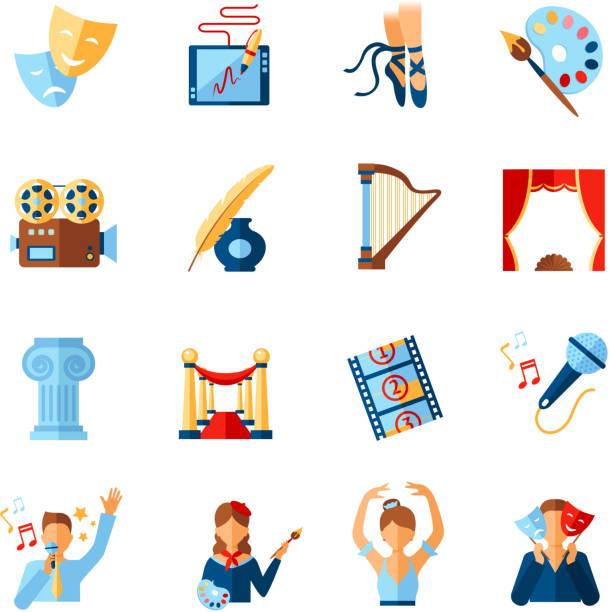 illustrations, cliparts, dessins animés et icônes de ensemble d'icônes de culture d'art - camera sculpture