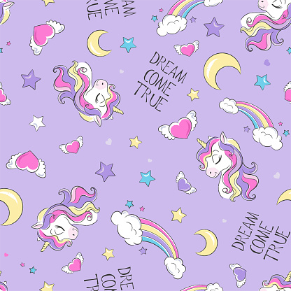Art. Cute unicorn pattern. Little dreamer. Fashion illustration print in modern style for clothes or fabrics and books. Dream come true.