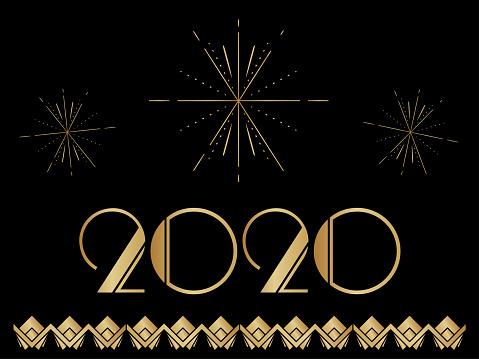 Art Deco 2020 New Year Banner