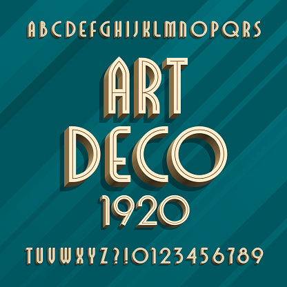 Art deco alphabet typeface. 3D effect type letters and numbers.