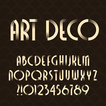 Art deco alphabet typeface. Type letters and numbers.