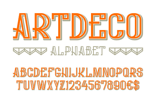 Art deco alphabet with numbers and currency signs.