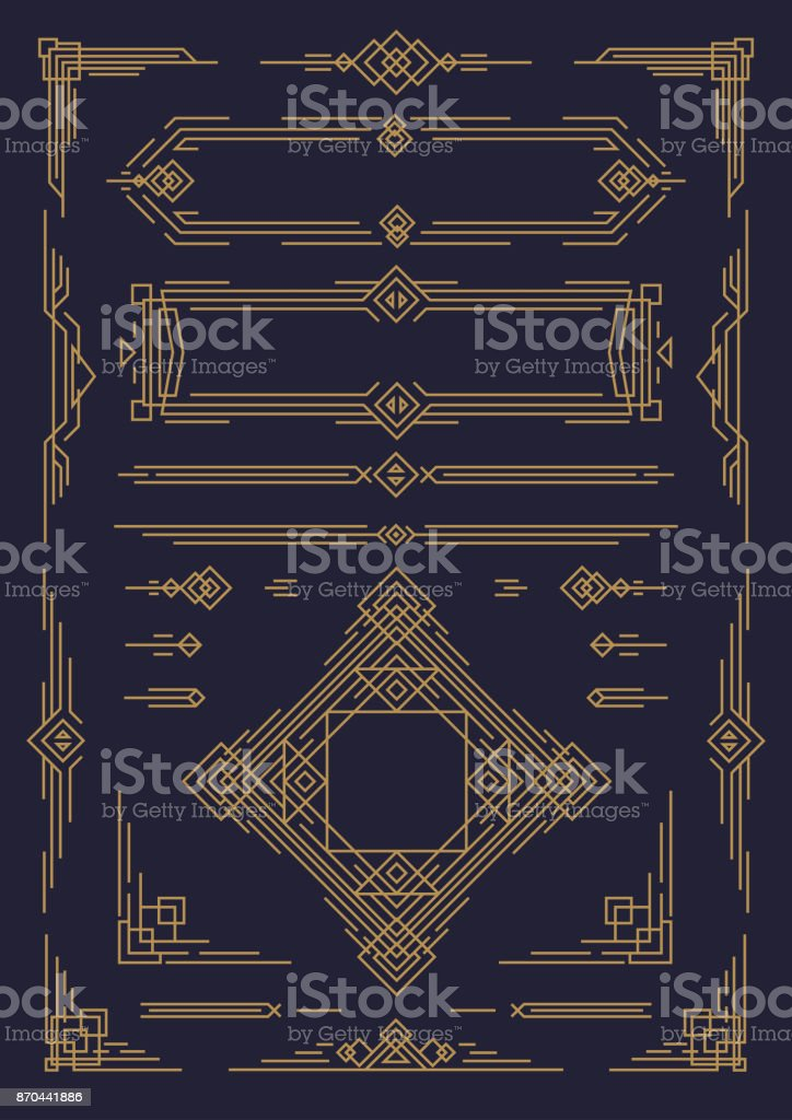 Art deco and arabic line design elements gold color isolated on black background vector art illustration