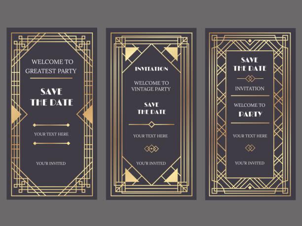 ilustrações, clipart, desenhos animados e ícones de bandeira de art deco de arte. convite de evento festa chique, glamour, quadros de padrão e ouro ouro moda retrô vector bandeiras conjunto de ilustração - moda de casamento