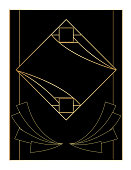 Art deco style background / template with copy space. Black and gold design.