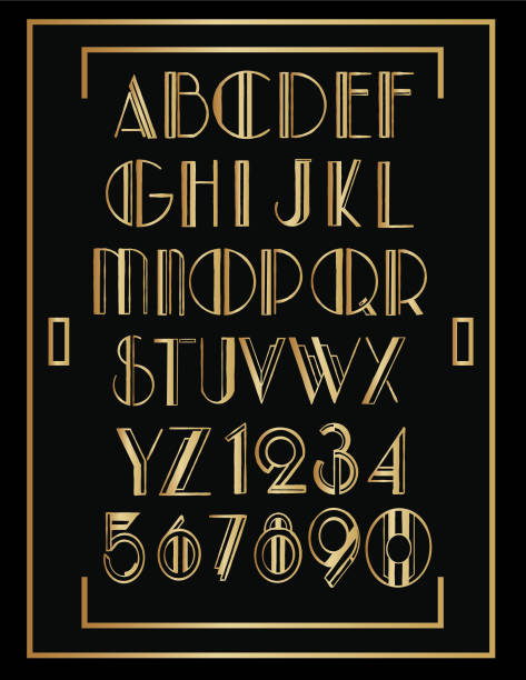 Art Deco Backgrounds Art deco style background / templates with copy space. alphabet borders stock illustrations